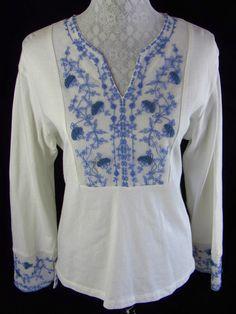 J.Jill Embroidered Floral Print XL Purple White Shirt Top 100% Cotton L/S V Neck  $28.99