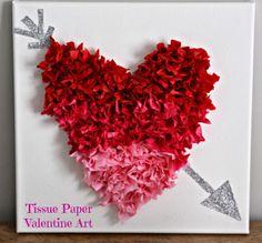 Tissue Paper Heart Canvas