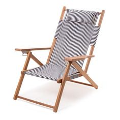 Meet our practical yet beautiful TOMMY chair in the Lauren's Navy Stripe and natural wood finish. The Tommy Chair is designed to bring all t. Beach Tent, Beach Umbrella, Deck Chairs, Outdoor Chairs, Outdoor Furniture, Outdoor Decor, Natural Wood Finish, Outdoor Fabric, Teak Wood