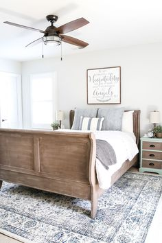 A dark and dated guest bedroom gets a cottage style makeover with serene shades of blue using Craigslist furniture and budget-friendly finds. Guest Bedroom Decor, Guest Bedrooms, Bedroom Sets, Guest Room, Master Bedroom, Bedroom Loft, Bedroom Storage, Kids Bedroom, Bedding Sets