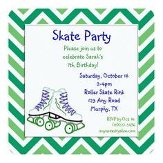 Roller Skate Birthday Invitations Green and Blue Roller Skate Birthday Invitation