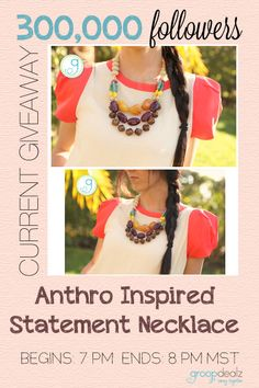 Gorgeous anthro inspired necklace up for grabs! Hurry and enter!