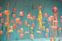 Moon Jellies and Pink Jelly Fish by Arline Fisch
