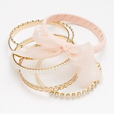 Candie's Gold Tone Simulated Crystal, Simulated Pearl and Ribbon Bangle Bracelet Set