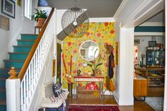 Eclectic Home Tour - Home Ec Colorful entry with red poppy wallpaper and blue painted stair risers Home Decor Furniture, Furniture Makeover, Painted Stair Risers, Magical Home, Interior Architecture, Interior Design, Green Cabinets, Little Girl Rooms, Eclectic Decor