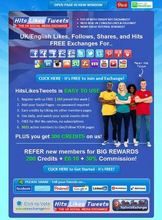 HitsLikesTweets - the UKs FREE Social Media Exchange for Facebook Likes, Twitter Followers, Retweets, Pinterest Pins and Repins, LinkedIn Connections, Google 1s, Soundcloud Followers and YouTube Views
