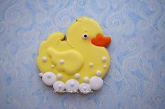 12 - Rubber Duck Baby Shower Cookies ( Taking a Bath) by NYCookiesByVictoria on Etsy