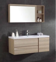 Model:IDEAHIT Description: Bath Vanity MDF with melamine,colour 3934 matt finish,upgraded soft close slide &soft close hinges  Basin:artificial stone  Mirror 1200x550x150 mm w/door cabinet  Size:1200X460X630 mm  Code:OJS 070-1200M
