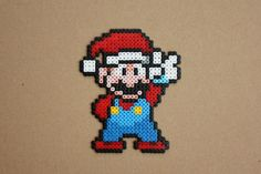 Super Mario with Christmas Hat Hama Perler by strepie93 on deviantART