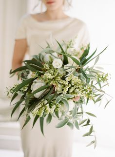 Organic rose and olive branch wedding bouquet: Photography : Sylvie Gil Photography Read More on SMP: http://www.stylemepretty.com/destination-weddings/france-weddings/2016/10/18/paris-france-wedding-inspiration/