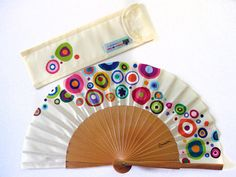 """Hand painted with matching sheath Fan """"Enchanted planet"""", handmade fan in Spain Painted Fan, Hand Painted, Record Wall Art, Hand Held Fan, Hand Fans, Fabric Dolls, Sacred Geometry, Artsy Fartsy, Enchanted"""