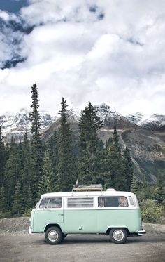 VW Bus in the mountains of Alberta, Canada. Shot by Crux Creative.