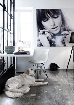 love the concrete floors and big a wall interior design decorating floor design Office Workspace, Office Decor, The Office, Office Ideas, Office Spaces, Corner Office, Workspace Design, Office Designs, Office Art