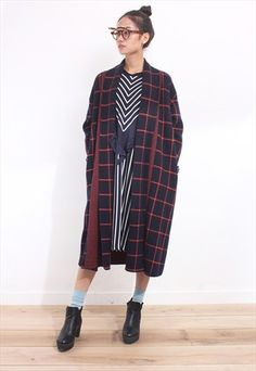 Plaid Pattern Oversized Wooly Knit Coat