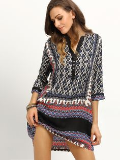 Tribal Print Buttoned Front Tunic Dress | MakeMeChic.COM