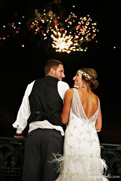 Fireworks on the Front Lawn! @ Nottoway Plantation! Great Gatsby Wedding! Vintage Wedding! Art Deco! Grand Finale!