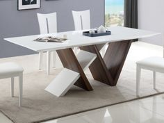 Mesa de comedor JAYDA - 8 comensales - MDF lacado - Color blanco y nogal White Dinning Table, Dinning Table Design, Furniture Dining Table, Patio Dining Chairs, Glass Dining Table, Coffee Table Design, Muebles Living, Luxury Dining Room, Modern Coffee Tables