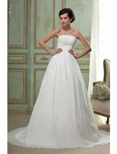 Classical A-line Strapless Floor-length Chapel Train Chiffon Wedding Dress - Empire Dresses - Wedding Dresses - CDdress.com