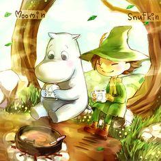 Moomin and Snufkin are having hot chocolate from Moomin mugs