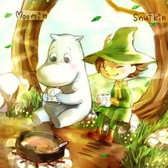 Moomin and Snufkin are having hot chocolate from Moomin mugs