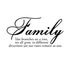"""Restly """"Family like branches on a tree,we all grow in different directions yet our roots remains as one.""""English Proverbs Wall Stickers Decor Living Room Wall Stickers Decor"""