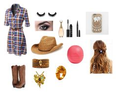 """Plaid Cowboy Look"" by hifza050703 ❤ liked on Polyvore featuring LE3NO, Dan Post, San Diego Hat Co., Chan Luu, Chen Fuchs Jewelry, Christian Lacroix, NARS Cosmetics, Eos and Marc Jacobs"