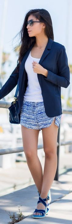 #summer #shorts #trend #outfitideas  White And Blue Printed Culotte Shorts