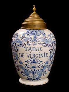 "18th Century Delft Tabacco Jar with Floral Decoration Enscribed ""Tabac de Virginie"" ca.1720 with Original Brass Top"