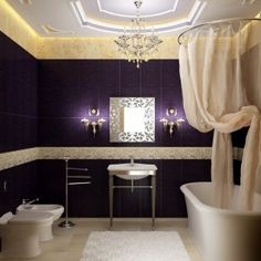 Elegant Long Shower Curtain Ideas with Red Color, bathroom ...