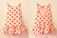 Sweetheart Dress - it's even reversible, which is adorable when a little bit of the polka dot peeks out on the bottom ruffle