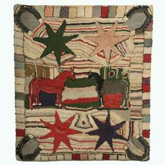 Folk Art hooked rug -   New England, c. 1880  Wool fabrics  40 1/2 x 36 inches    The folk artist of this beautiful and colorful hooked rug places two facing horses in the center, bordered by four large stars and a horseshoe in each corner. The artist may be expressing that if the stars align and good luck prevails that these two horses will be successful at whatever they want to accomplish. The wonderful striated background and block border add to the dynamics of this rug.