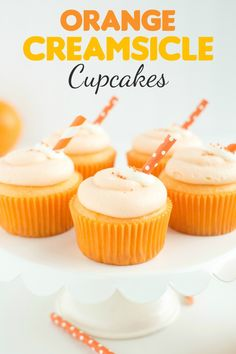 These light and fluffy Orange Creamsicle Cupcakes are filled with a marshmallowy creme filling and topped with a sweet orange vanilla cream cheese frosting! It's like eating an Orange Creamsicle in cupcake form! Vanilla Cream Cheese Frosting, Orange Frosting, Cupcake Recipes, Cupcake Cakes, Dessert Recipes, Cup Cakes, Dessert Ideas, Grandma's Recipes, Bisquick Recipes