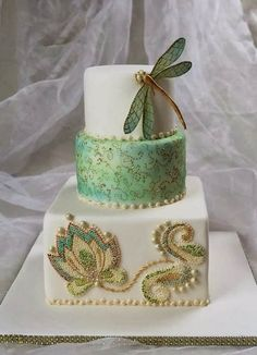 """I can't decide which I like better: the dragonfly or the """"beading"""" on the bottom tier: by Tortenherz"""