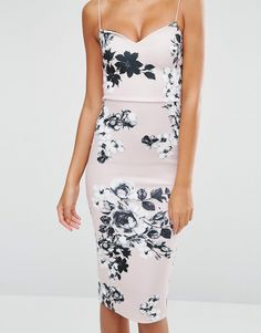 Image 3 ofASOS TALL Deep Plunge Scuba Strappy Mink Floral Midi Pencil Dress
