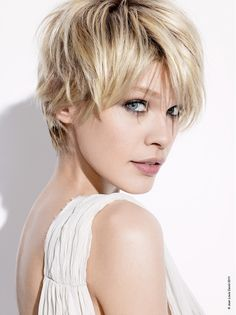 short blonde straight coloured Layered Womens haircut hairstyles for women