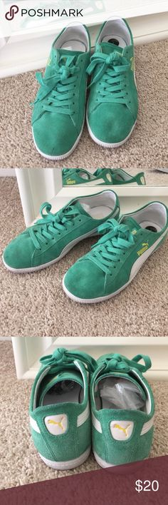 Puma swede sneakers Teal Puma, suede, excellent condition little use. Puma Shoes Sneakers