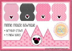 Minnie Mouse Bowtique Birthday Printables pink black polka dot free party decor banner treat favor Andrea u need this Minnie Birthday, Happy Birthday Banners, 1st Birthday Parties, Birthday Ideas, Free Birthday, 2nd Birthday, Minnie Mouse Theme, Mickey Mouse, Partys