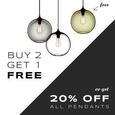 Last chance for 2 awesome deals! For our buy 2 pendants, get 1 FREE sale use code 3FORME at checkout. For 20% off any pendant purchase, the discount will automatically be applied at checkout. Sales end tonight at midnight! Get shopping! http://tinyurl.com/hcwhsn4