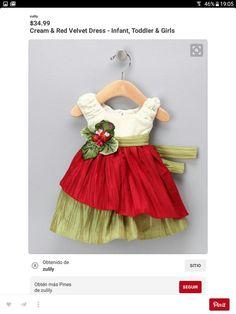 Cream & Red Velvet Dress - Infant, Toddler & Girls - would make a cute Christmas dress! Little Dresses, Little Girl Dresses, Cute Dresses, Baby Dresses, Girls Dresses Sewing, Fashion Kids, Costume Carnaval, Red Velvet Dress, Doll Clothes