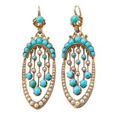 Antique Turquoise and Pearl Earrings Give Them To Me Now and You Won't Get Hurt. kf