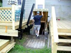 basement entry thought the deck Basement Entrance, Basement Stairs, Deck Over, Back Deck, Bulkhead Doors, Bilco Doors, Cellar Doors, Door Decks, Deck Makeover