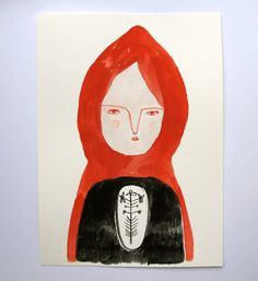 Red Riding Hood painting  by cathy cullis,