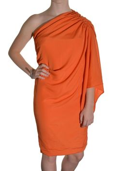 Gathered One Shoulder Dress Drape Sleeve Extra Small Orange Club Party NWOT #Unknown #OneShoulder #Clubwear