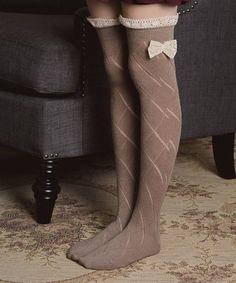 Look at this #zulilyfind! Mocha Pointelle Thigh-High Socks #zulilyfinds