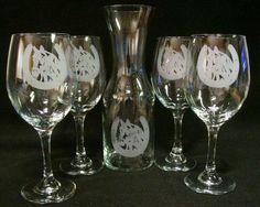 Horse Horseshoe Etched Wine Glasses Decanter, Wedding gift, Birthday gift. $56.99, via Etsy.