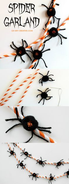 LOVE this Halloween Spider Garland made of straws, pom pom spiders and glitter - so cute for the kids to make and great to use for decorations!  |  OHMY-CREATIVE.COM