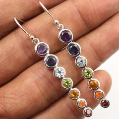 Chakra Style Earrings Natural MULTI-COLOR Gemstones 925 Sterling Silver Jewelry #Unbranded #DropDangle