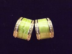 "Joan Rivers Faux Croco Embossed Lime Green Leather w/Crystals set in Goldtone Half Hoop Clip on Earrings. 5/8"" wide by 7/8"" long."