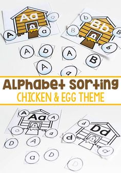 Kids will love working on letter recognition with this fun farm theme Alphabet sorting activity! This free printable is perfect for preschool and kindergarten literacy centers and for learning letters. #kindergarten #farmtheme #freeprintable #literacy #alphabet #letters #letterrecognition #chickens #literacycenters #learningthealphabet