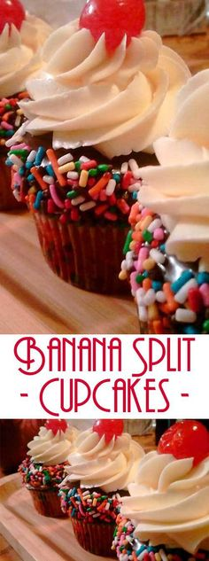 Enjoy the delicious flavors of your favorite ice cream dessert in these Banana Split Cupcakes. Topped with a smooth buttercream, rich chocolate ganache, sprinkles, and a cherry on top. #cupcakerecipe #bananasplit #dessertrecipe